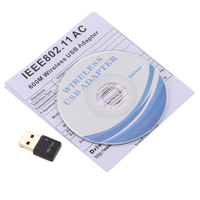 600Mbps 11AC USB 2.0 2.4G/5.8G Dual Band Wireless WiFi Adapter Receiver Wireless-N Network Card 802.11ac/a/b/g/n