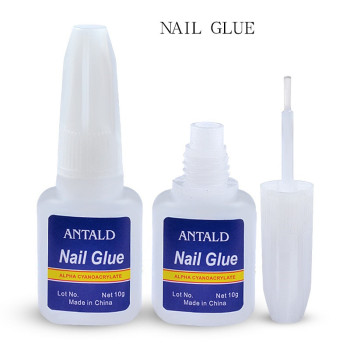 Hot 5pcs/set 10g False nail tips Glue Nail Art Decoration with Brush glue for stickers and decals Manicure tools