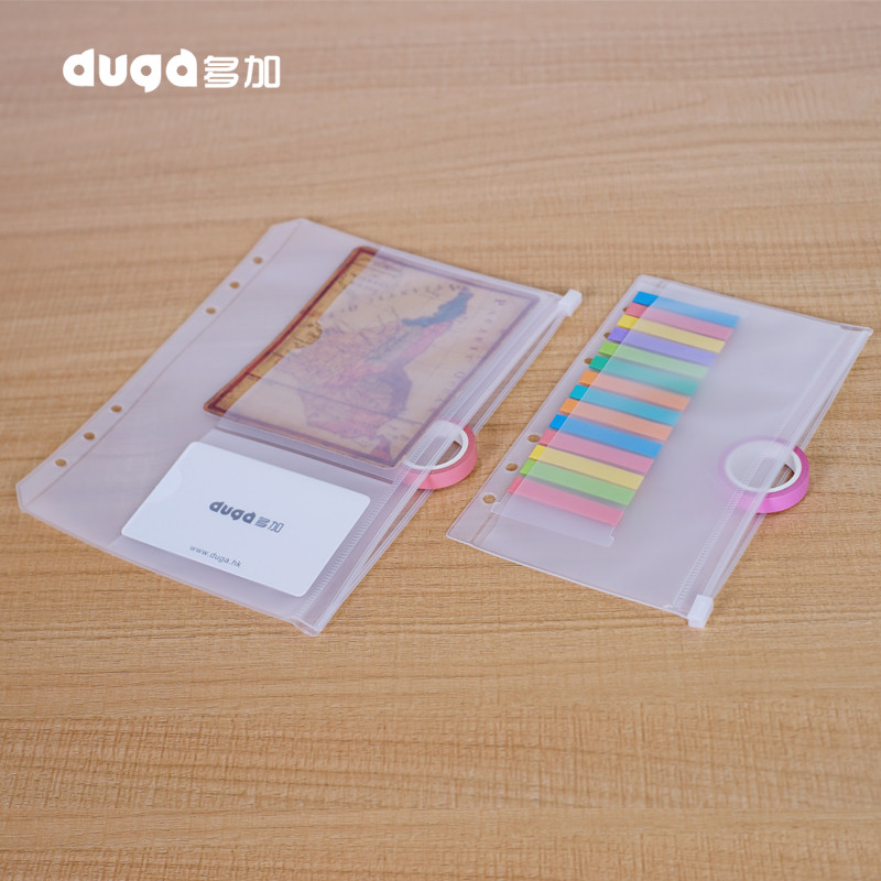 A5 A6 PVC Zipper Pouch Standard 6 Holes Transparent Bag Card Bills Bags Loose Leaf Plastic Card Holder Pockets Storage Organizer