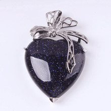 FYJS Unique Silver Plated Silk Cute Heart Blue Sand Stone Pendant Romantic Style Jewelry