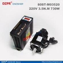 цена на 0.73KW AC SERVO MOTOR & DRIVER SYSTEM  3.5N.M 730W 2000RPM 80ST AC Servo Motor M03520 + Matched Servo Driver 80ST -M03520