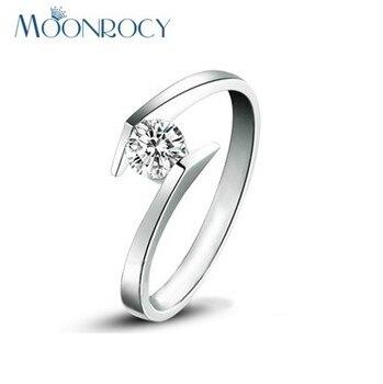 Anillos de boda de Zirconia cúbica MOONROCY, anillo de compromiso de cristal de Color plateado para mujeres y niñas, joyería de regalo, venta al por mayor, Dropshipping