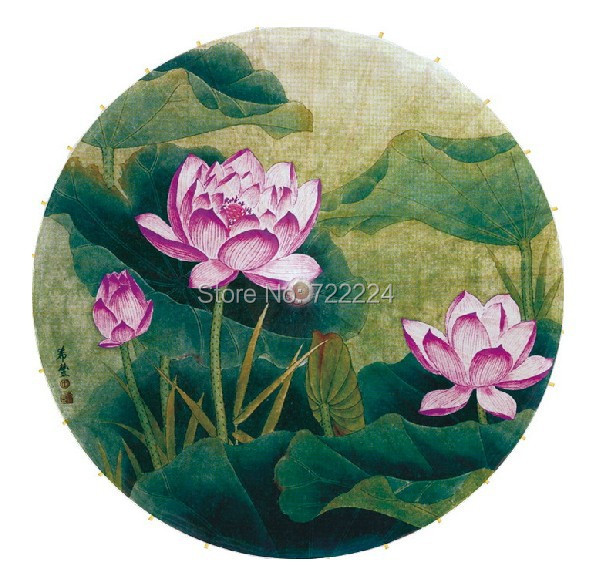 Фото Dia 84cm Oil Painting style lotus picture bamboo handle handmade chinese classical non-automatic waterproof oiled paper umbrella