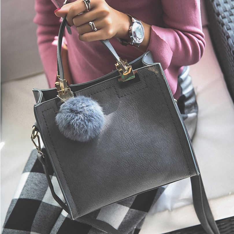 Hot Sale Tas Wanita Kasual Tote Bag Wanita Besar Bahu Messenger Casing Berkualitas Tinggi Pu Kulit Tas Tangan dengan Bulu Bola bolsa
