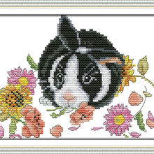 The little rabbit in flowers Animal cross stitch kit 14ct wh
