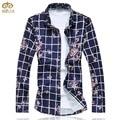 Большой Размер Цветочный Плед Camisa Masculina 7XL 6XL Brand Clothing Slim Fit Национальный Стиль Мужчины Цветок Рубашка Гавайская Рубашка 2017