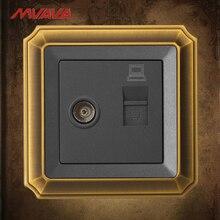 цена на MVAVA Computer Data+TV Receptacle RJ45 Data Outlet Internet Jack Plug Wall Socket Luxury Bronzed Panel Free Shipping