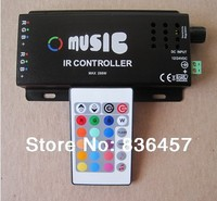 Wholesale 12 24V 24 Key Wireless IR Remote Control LED Music Controller Dimmer for RGB LED Strips Free Shipping