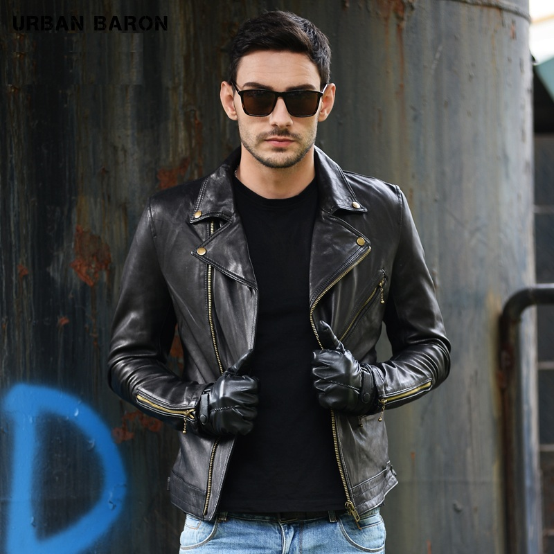 Free Shipping.Brand New Sheepskin Jackets,men's 100% Genuine Leather,motor Biker Jacket.slim Plus Size,casual Coat Classic