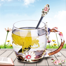 Exquisite Floral Eco-Friendly Glass Coffee Mug
