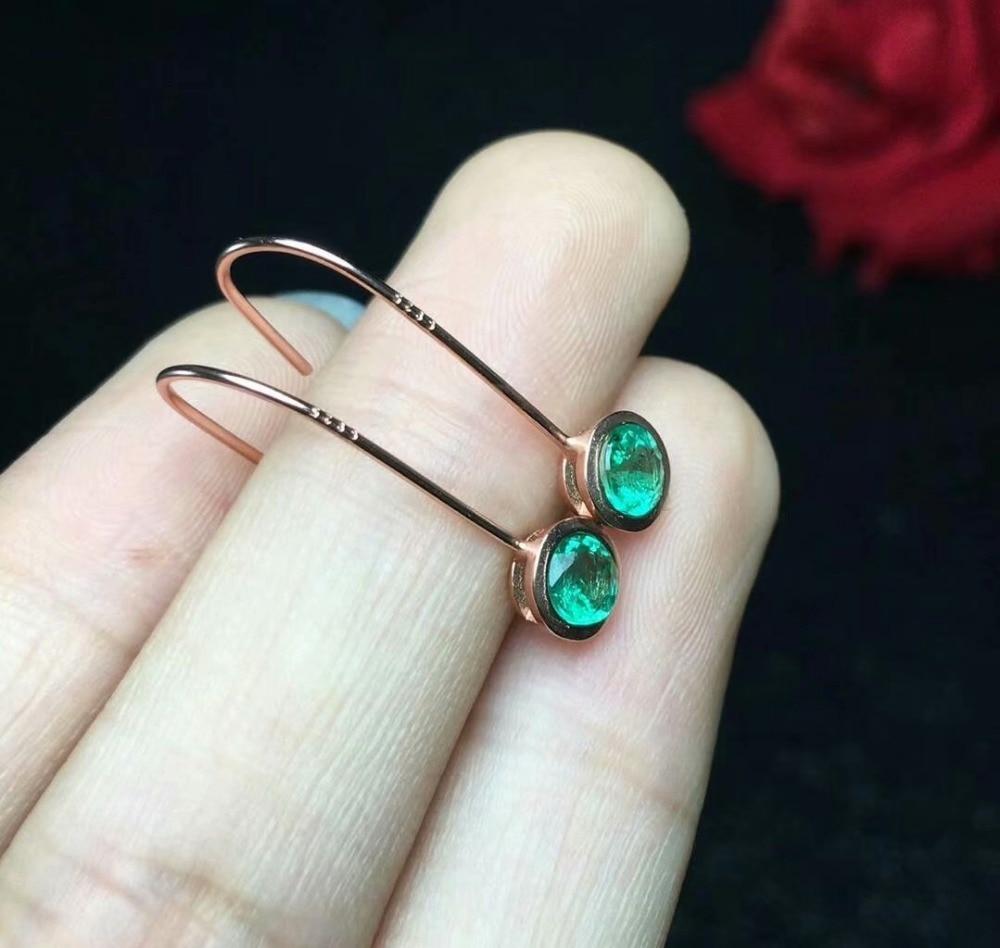 SHILOVEM 925 sterling silver Natural Emerald drop earring fine Jewelry women plant wedding new wholesale 4