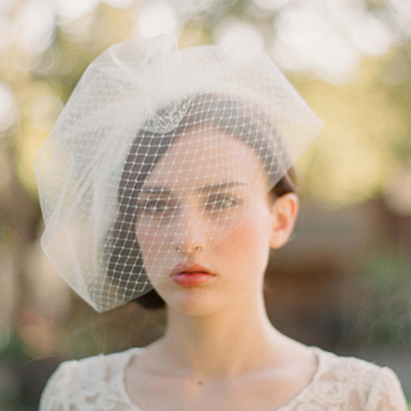 High Quality Elegant Birdcage Veil Wedding Bridal Tulle Veils Lace Edge White Two Layer Accesories In From Weddings