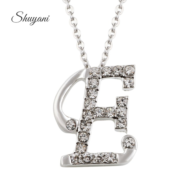 2016 fashion jewelry silver crystal letter necklace women men alphabet 26 letters e pendant necklaces