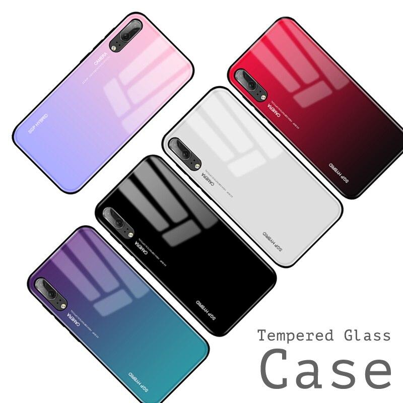 best service e4882 c6049 Gradient Aurora P20 Lite Tempered Glass Back Huawei P20 P 20 Lite Pro Plus  Nova 3E 20Lite Colorful Cover Shell