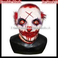 2017 Bestnote Latex Halloween Party Cosplay Horror Halloween Scary Clown Maske mit Rote Haare Narr Joker Gesicht Maske Kostüm