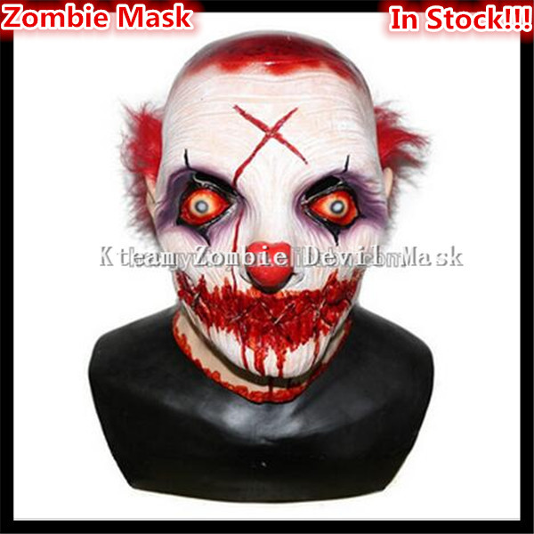 2017 top grade latex halloween party cosplay horror halloween scary clown mask with red hair jester joker face mask costume in party masks from home
