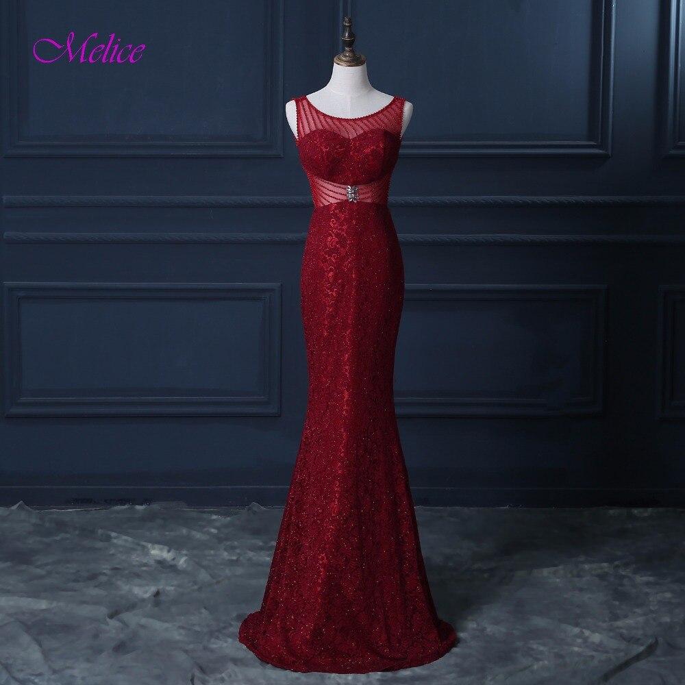 Melice glamour Scoop cou perlé Zipper dentelle longue Robe De soirée 2019 luxe cristal formelle Robe De soirée Robe De soirée offre spéciale