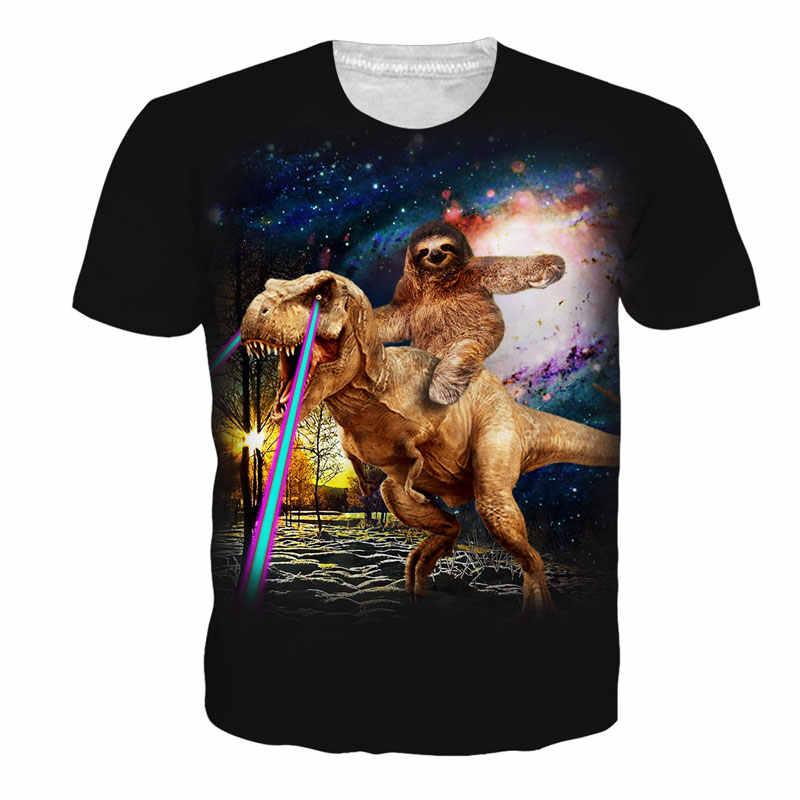 fbf64df7dc96 Galaxy Dinosaur Sloth 3D T Shirt Laser Cat Beer Camisa Masculina Animal  Print Clothing Summer Men