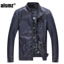 Aismz New Fashion Mens Pu Leather Jacket Fashion Brand High Quality Motorcycle Business Casual Male Leather