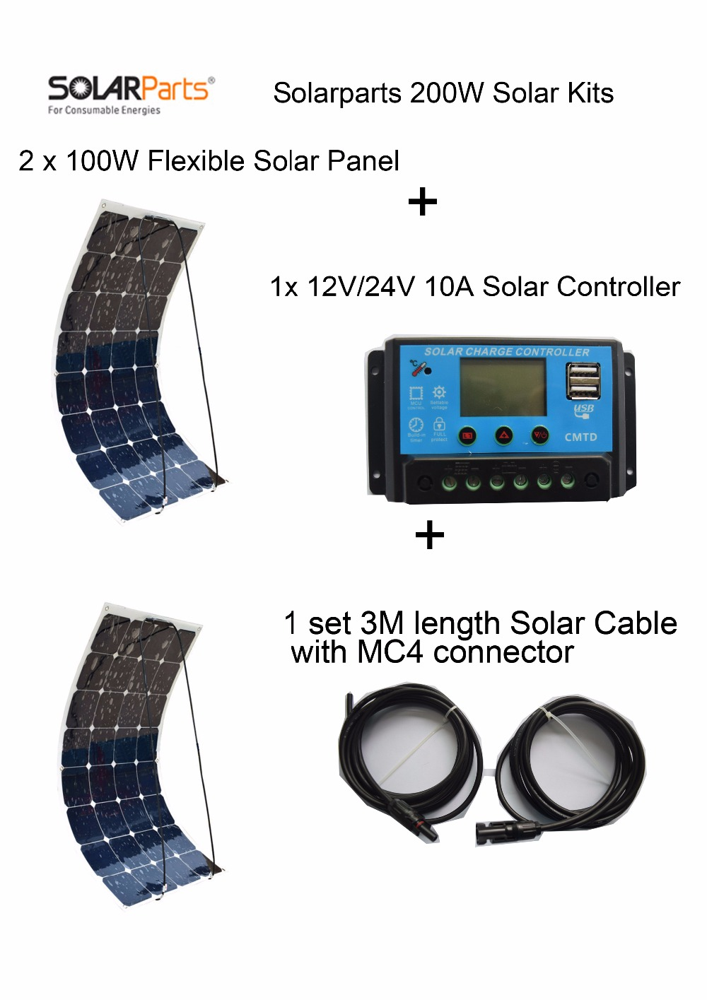 Solarparts Standard Kits 200W DIY RV/Boat Kits Solar System 100W flexible solar panel+controller+cable outdoor light led module. solarparts 100w diy rv marine kits solar system1x100w flexible solar panel 12v 1 x10a 12v 24v solar controller set cables cheap