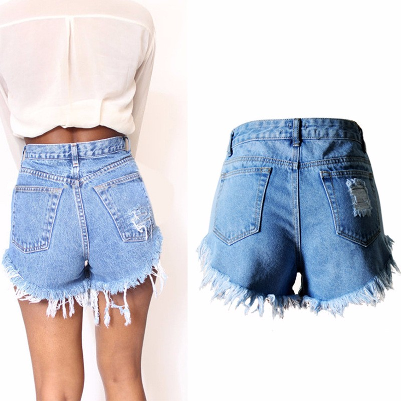 2016 Women Vintage Ripped Hole Denim Shorts Casual Pocket Jean Short Pants 2016 Summer Girl Hot Shorts