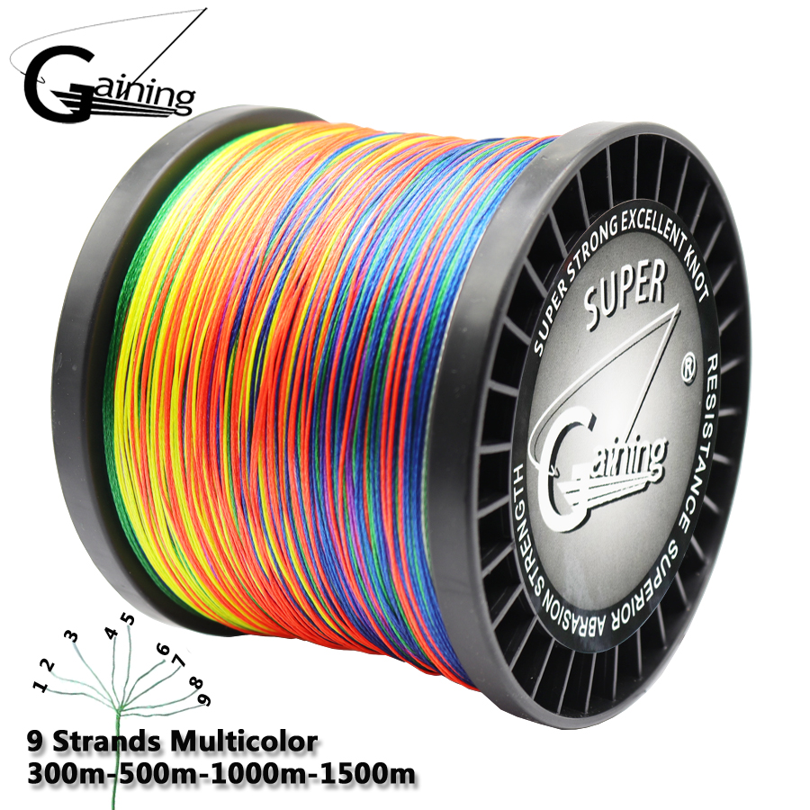 Gaining 9 Strands 300m 500m 1000m 1500m Braid Wire Super Multicolor PE Braided Fishing Line Strong Strength Fish Line 20LB-200LB