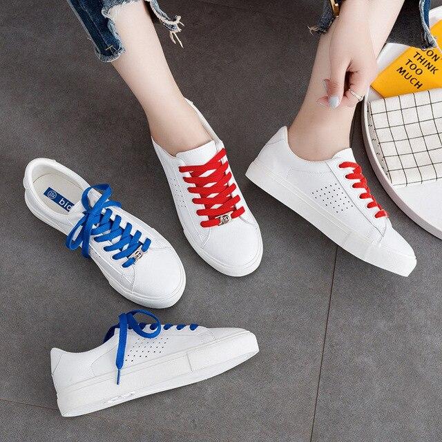 def98ffcd € 30.68 |2018 nueva moda tendencias mujeres Zapatos de cuero mujer blanco  casual Zapatos moda sneakers zapatillas mujer casual rojo azul 35 40 en ...