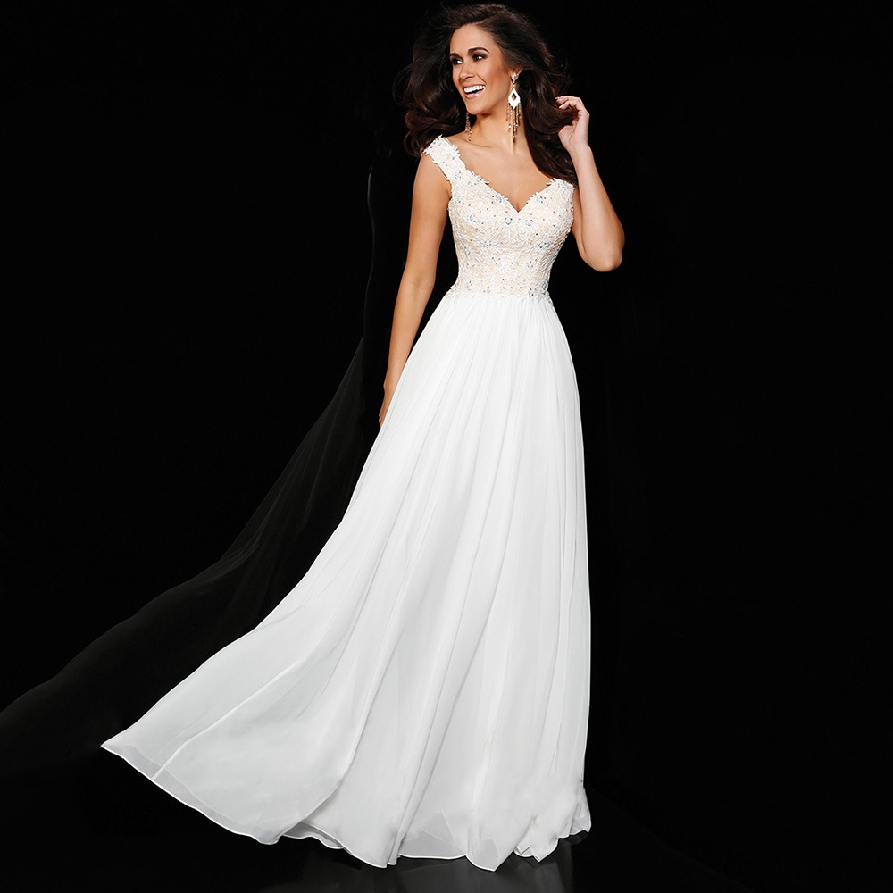 PF290-Simple-A-Line-Cap-Sleeve-V-Neck-White-Sequin-Long-Evening-Dresses-2015-Special-Occasion (3)
