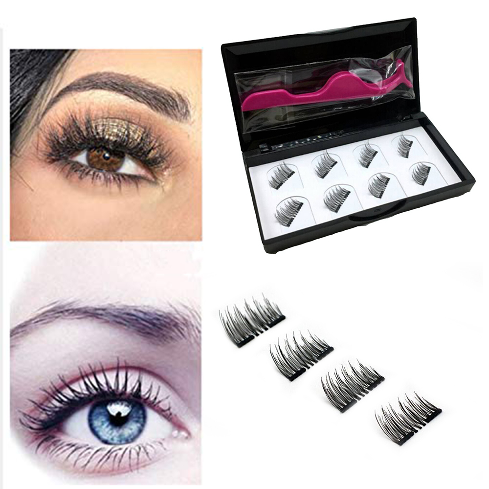 2/4 Double Natural False Eyelashes 3D Magnetic Eyelash Makeup Eyelash Curler Eyelash Extension Water Eyelash Beauty TSLM2