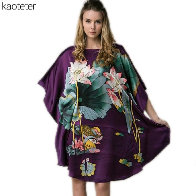 100% Mulheres De Seda Real Solto Homewear Loungewear Noite Saia Uma Peça Plus Size Desgaste Casa Pintados À Mão de Lótus Nightgowns YBS00201