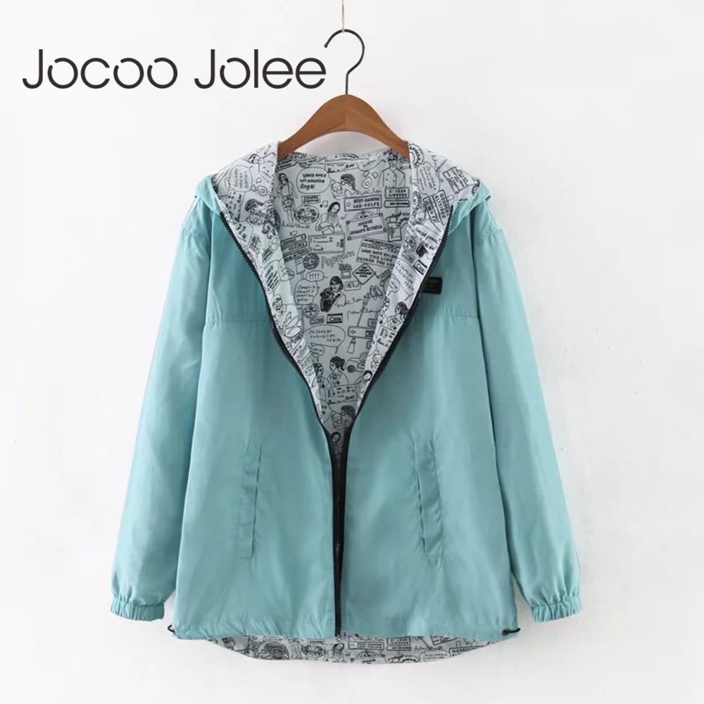 Jocoo Jolee 2018 Autumn Women Bomber Basic Jacket Pocket Zipper Hooded Two Side Wear Cartoon Print Outwear Loose Coat
