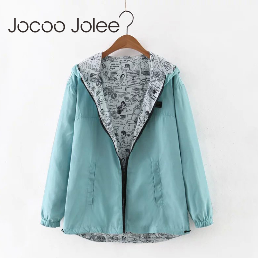 Jocoo Jolee 2018 Autumn Women Bomber   Basic     Jacket   Pocket Zipper Hooded Two Side Wear Cartoon Print Outwear Loose Coat