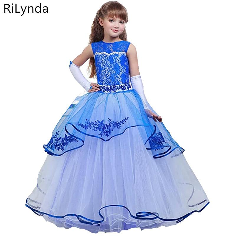 Flower     Girl     Dresses   For Weddings Lace Ball Gown Sleeveless Kids Evening Gown First Communion   Dresses   For   Girls   Vestido Longo