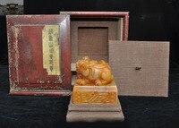 Натуральный Tianhuang Shoushan камень Pixiu зверь текст печать штамп с печаткой деревянный ящик набор