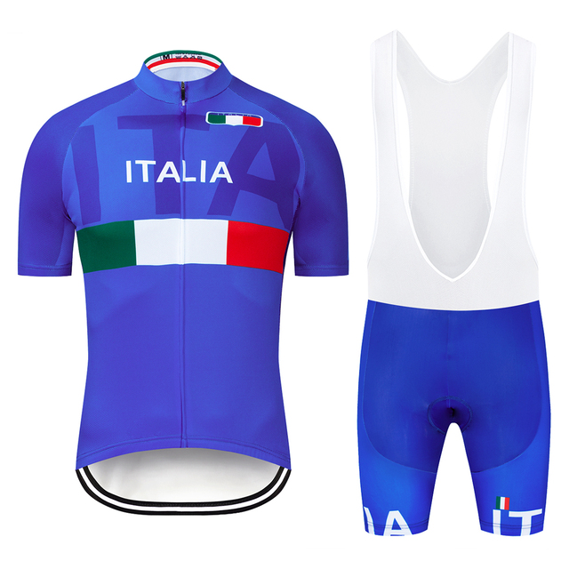 2019 Blue ITALIA  Cycling Team Clothing Bike Jersey Quick Dry Bicycle Clothes Mens Cycling Jerseys Bike Wear Set