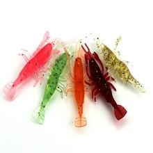 200Pcs/Bag 3.6g/8cm Mixed Color Shrimp Soft Fishing Lure for Fish  Artificial Plastic Silicone Tackle Swim Bait