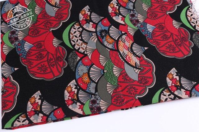 148cm 50cm Japanese Style Cherry Blossom Fan Cotton Linen Fabric