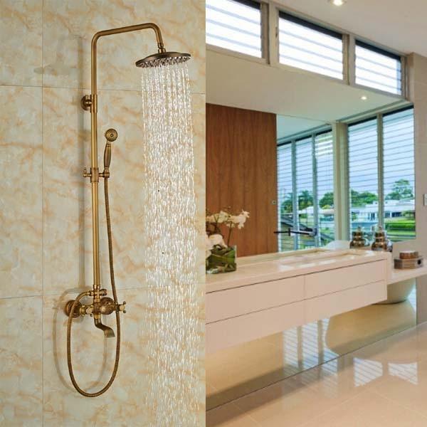 Shower Faucet Set Mixer Tap 8-inch Rain Shower Head Antique Brass dofaso classic rain shower set antique brass tub shower faucet with 8 inch shower head mixer tap bath shower taps