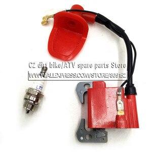 Image 3 - Performance Red IGNITION COIL for 43cc 47cc 49cc Mini Quad Pocket Dirt Bike ATV 2 Stroke Engine part with L7T spark plug