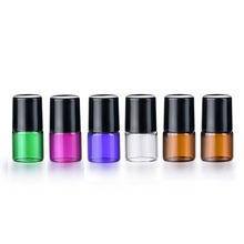 50pcs/lot 1ml 2ml 3ml  5ml 10ml Five Colors Thick Glass Roll on Bottles with Metal Ball Refillable Roller Essential Oil Vials