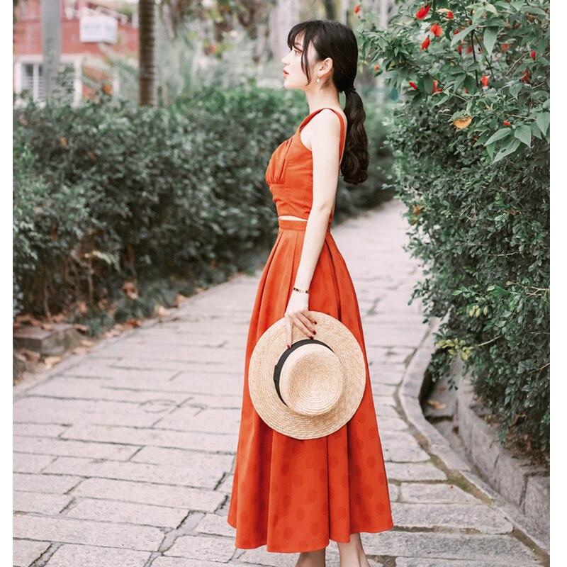 2019 été deux pièces ensemble costume femmes robe Vintage sans manches fronde haut court + jupe longue robe pour femmes Maxi robes Sexy
