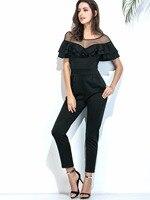 SXHIKEFOOT HOT 2018 women Mesh stitching ruffled slim fit jumpsuit trousers