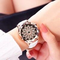 MEGIR Women Luxury Rhinestones Rotating Analog Quartz Wristwatches Leather Strap Waterproof Creative Watches Relogio Feminino