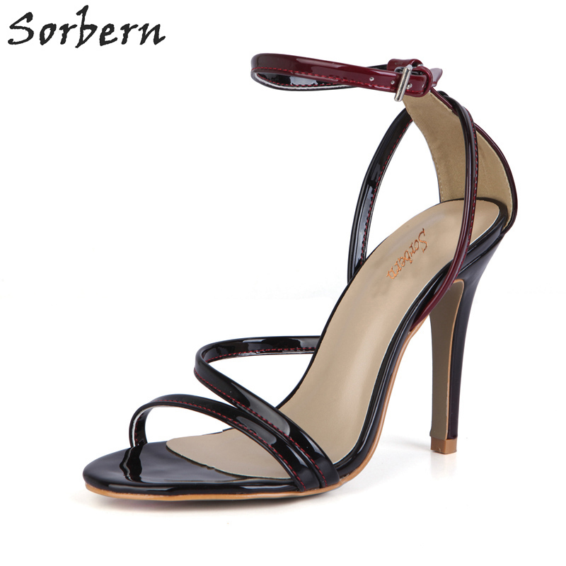 Sorbern Gradient Black Red 10Cm Stiletto Heels High Heel Shoes Women Summer Shoes And Sandals Ankle Strap Heels Custom ColorsSorbern Gradient Black Red 10Cm Stiletto Heels High Heel Shoes Women Summer Shoes And Sandals Ankle Strap Heels Custom Colors