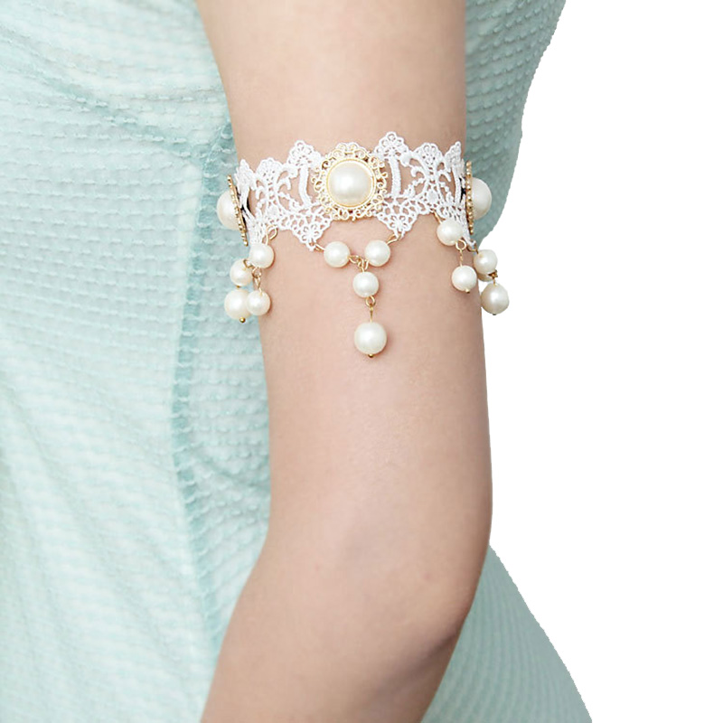 Womens Lady Handmade Dance Bridal Wedding Gothic Arm Band Armband Armlet  Flower White Lace Faux Pearl f3f48cd37454