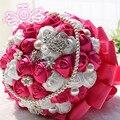 Роскошные Свадебные Букеты Розовый Свадебные Букеты Искусственные Свадебный Букет Кристалл Блеск С Жемчугом 2017 Buque Де Noiva