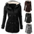 Invierno de las mujeres de Estilo Clásico Flocado Con Capucha Toggle Duffle prendas de Abrigo Chaqueta prendas de Vestir Exteriores