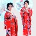 2016 Традиционная Японская Одежда Уникальный Японский Цветок Длинные Кимоно Япония Шелк Портрет Студия Театральный Костюм Красный Komono