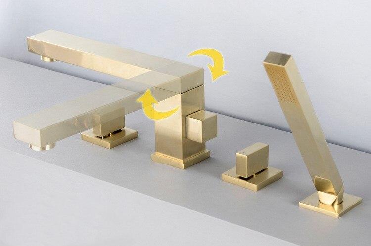 Oro spazzolato quadrato in ottone bagno Vasca Da bagno rubinetto set 2 maniglia 4 fori miscelatore del rubinetto di Alta qualità di design Girevole Rubinetto per doccia