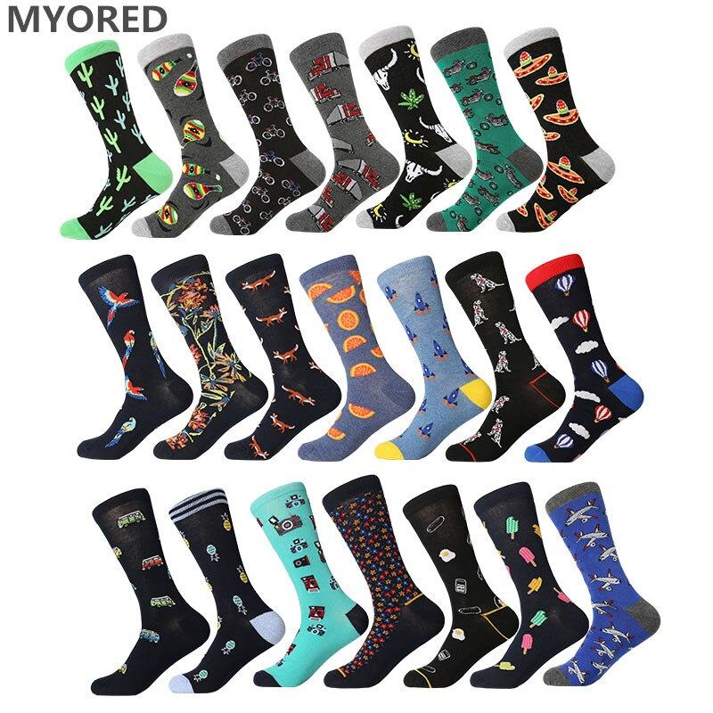 MYORED 1 pair drop shipping men socks cotton funny long socks creative cartoon animal colorful crew socks for gift wedding socks